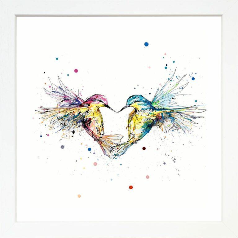 Forever Two Hummingbirds Heart Paper Giclee Fine Art Print in White Frame