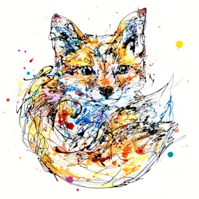 baby fox cub print