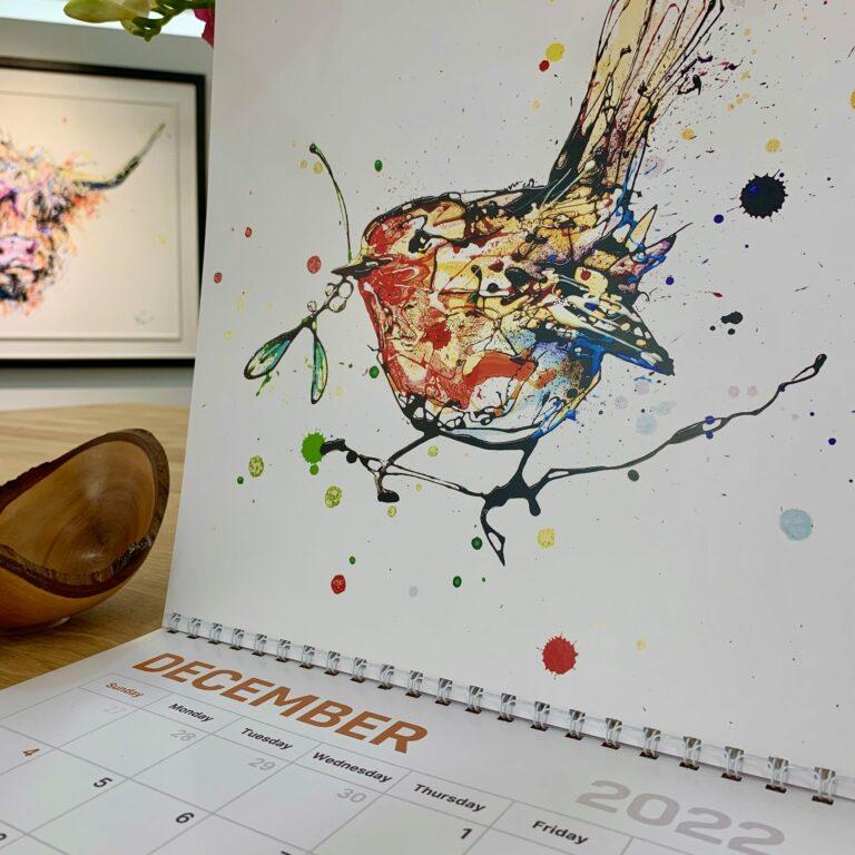 Kathryn Callaghan Cover of 2022 Wall Calendar Mistletoe Robins Print