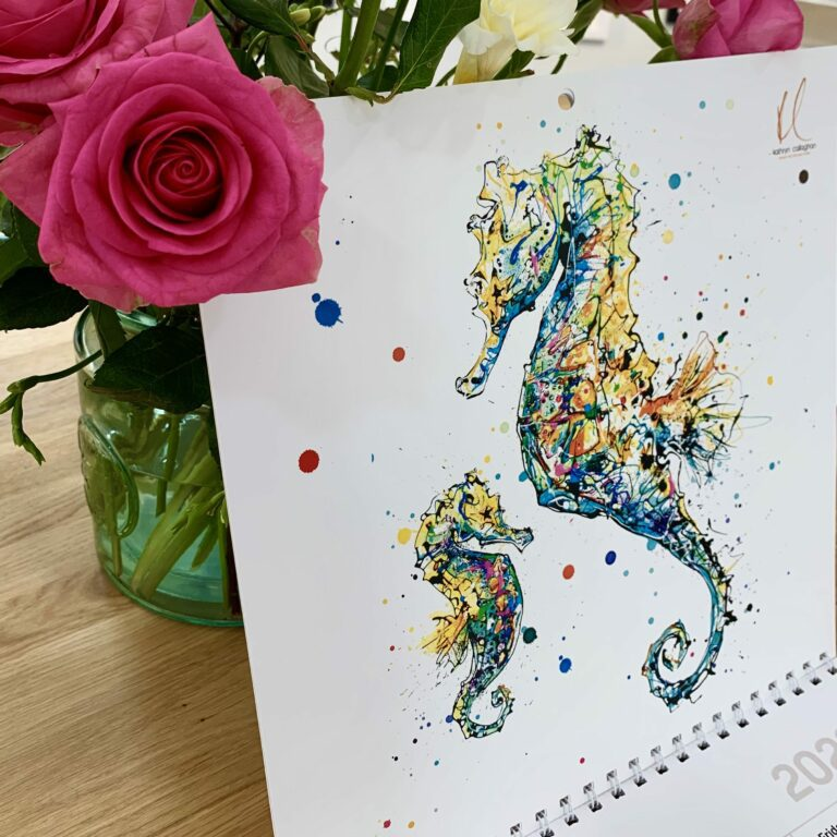 Kathryn Callaghan Cover of 2022 Wall Calendar Seahorses Print