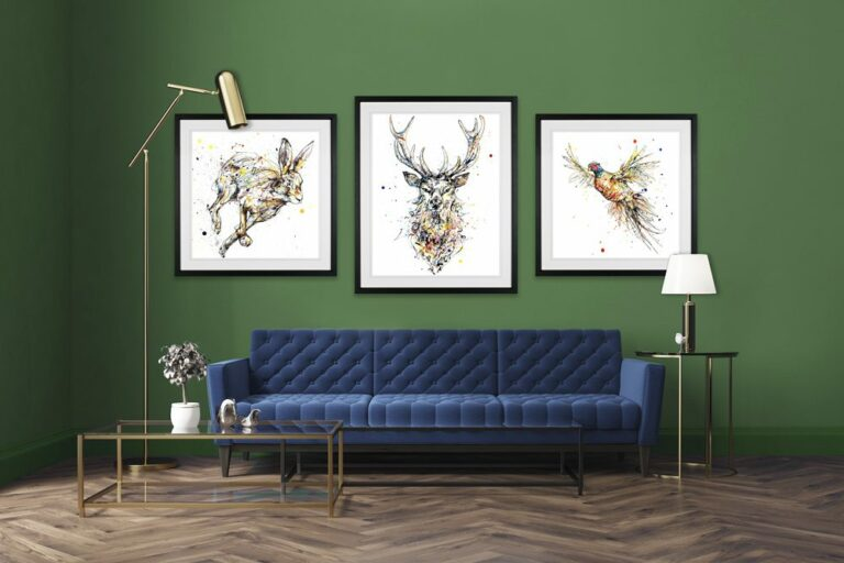 Noble Stag Hightail Hare Rabbit Flush Pheasant Paper Giclee Fine Art Prints shown in Situ
