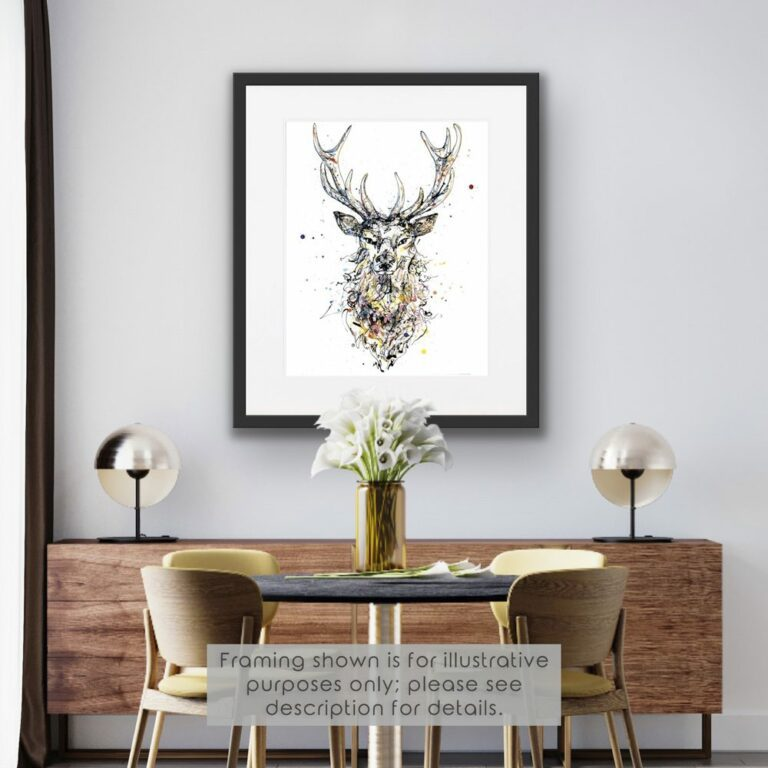 Noble Stag Paper Giclee Fine Art Print shown in black frame in Situ