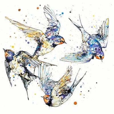 4 swallows in flight