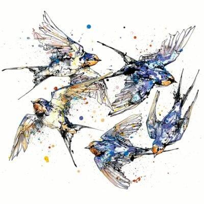5 swallows in flight