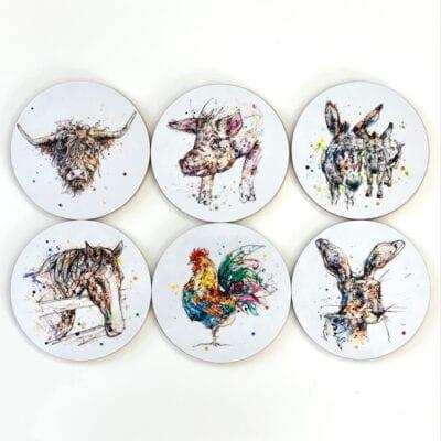 farmyard coasters gift set