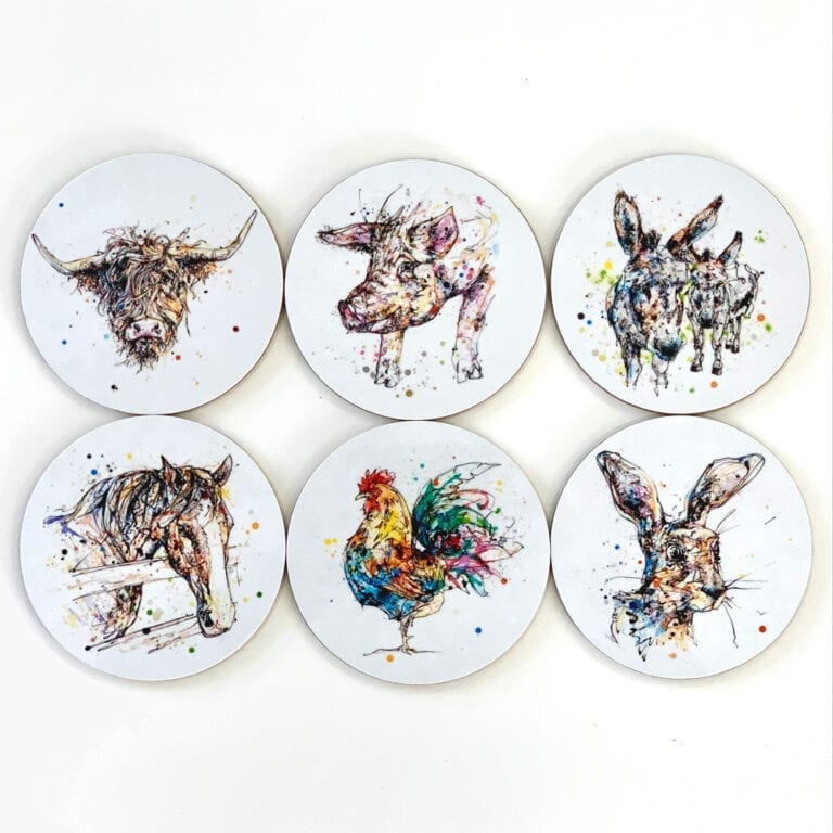 farmyard coasters gift set