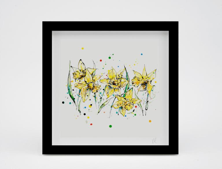 framed daffodil art print