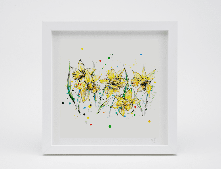 white framed daffodil art print