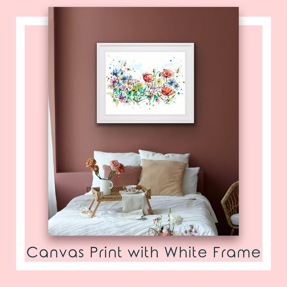 Enchanted Garden Canvas Print in White Frame in Situ