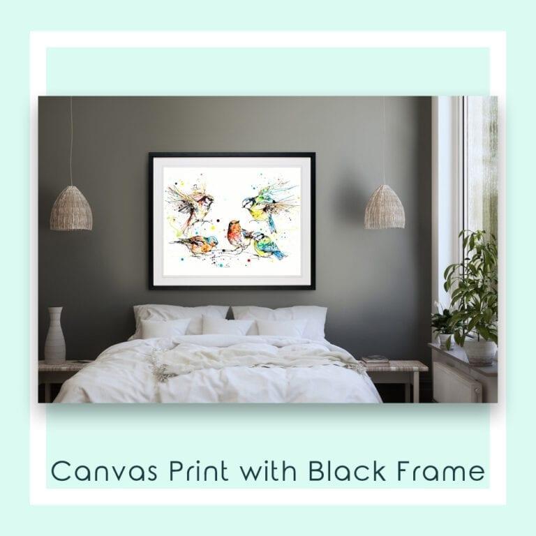 Garden Party Canvas Print shown in Black Frame in Situ