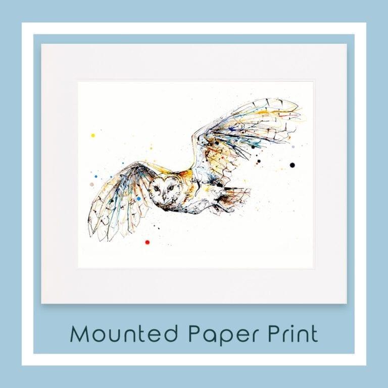 Mounted Paper Print of Guardian Barn Owl