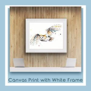 Guardian Barn Owl Canvas Print in White Frame in Situ