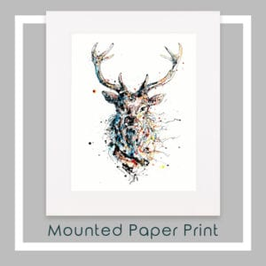Majestic Red Deer Stag Paper Print Mounted