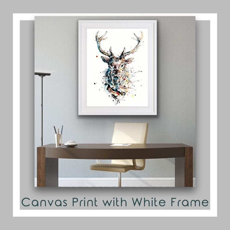 Majestic Stag Red Deer shown in White Frame in Situ