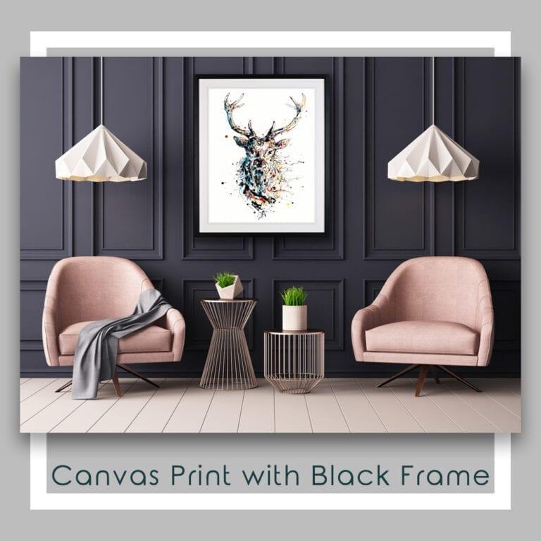 Majestic Stag Red Deer Canvas Print in Black Frame in Situ