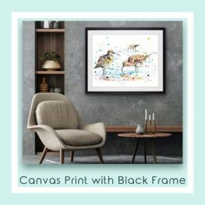 Reflections Curlews shown in Black Frame in Situ
