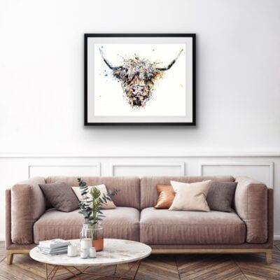 highland cow canvas print framed