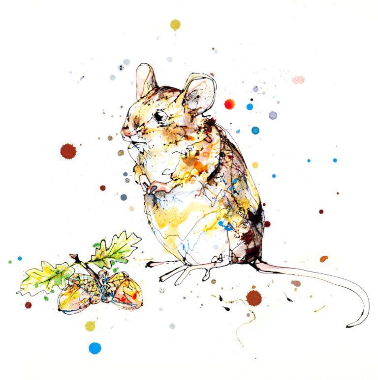 Little Guy Harvest Mouse Giclee Paper Fine Art Print