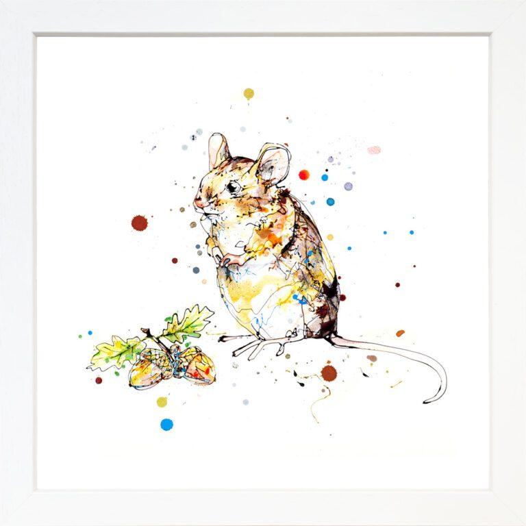 Little Guy Harvest Mouse Paper Giclee Fine Art Print in White Frame