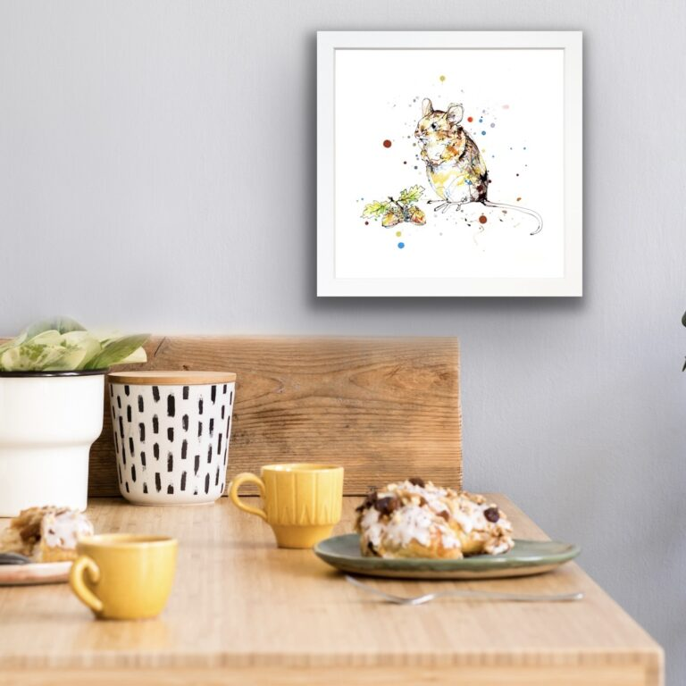 Little Guy Mouse Print in White Frame in Situ
