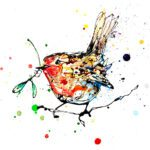 Mistletoe Robin Christmas Holidays Giclee Paper Fine Art Print