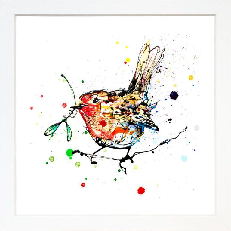Mistletoe Robin Giclee Paper Fine Art Print in White Frame