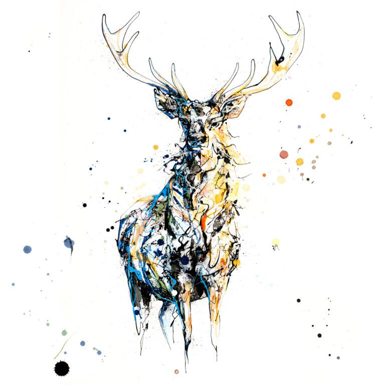 Nightfall Stag Paper Giclee Fine Art Print