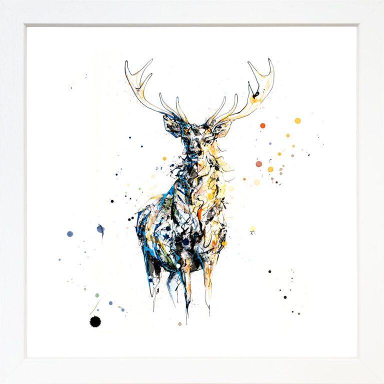 Nightfall Stag Giclee Paper Fine Art Print in White Frame