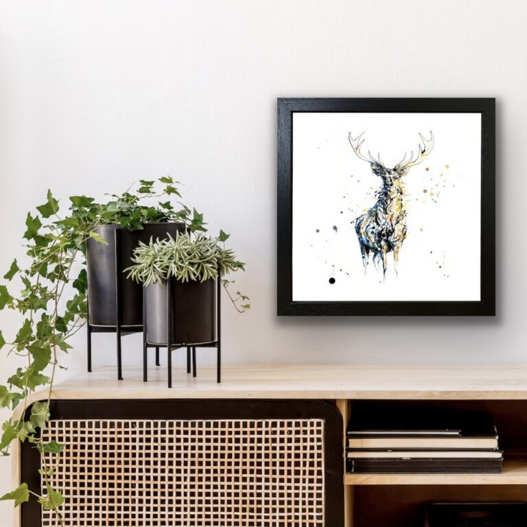 Nightfall Stag Fine Art Print in Black Frame in Situ