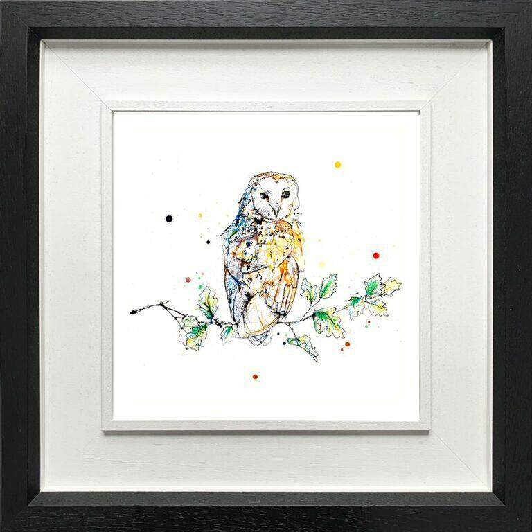 Curio Barn Owl Curiosity Birds of Prey Paper Giclee Fine Art Print shown in Deluxe Black Frame