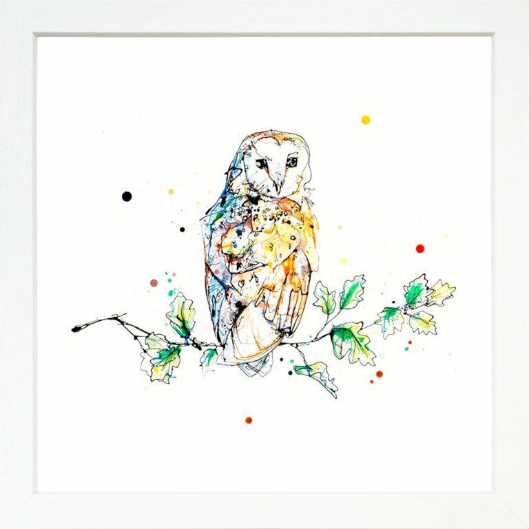 Curio Barn Owl Curiosity Birds of Prey Paper Giclee Fine Art Print shown in Standard White Frame