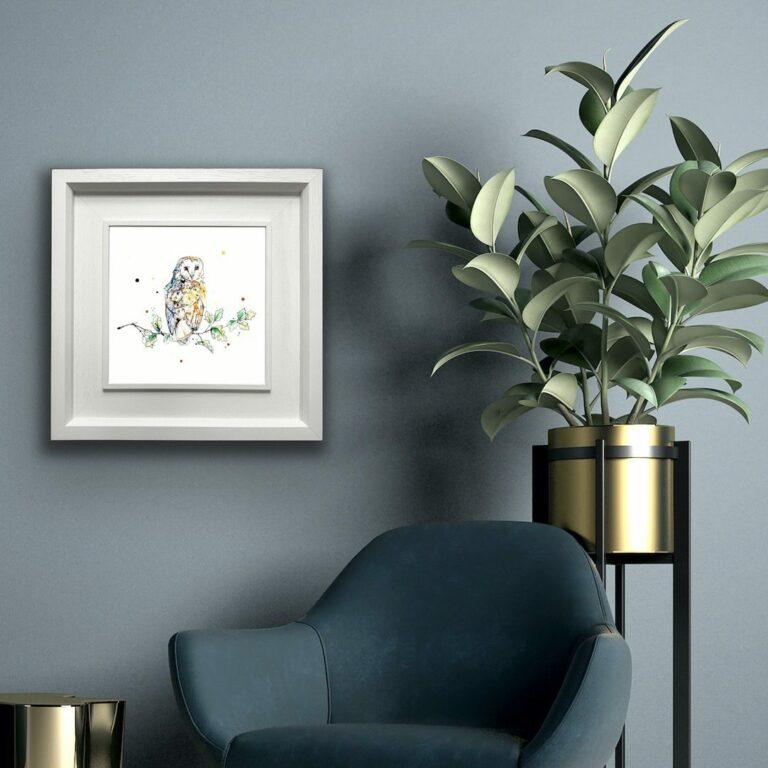 Curio Barn Owl Paper Giclee Fine Art Print shown in Deluxe White Frame in Situ