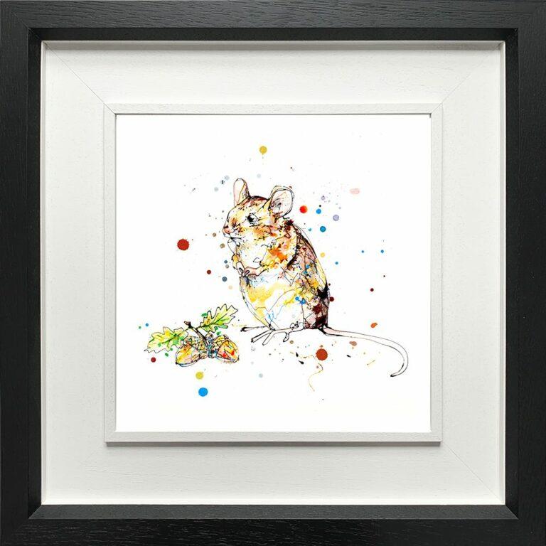 Little Guy Mouse Paper Giclee Fine Art Print in Deluxe Black Frame