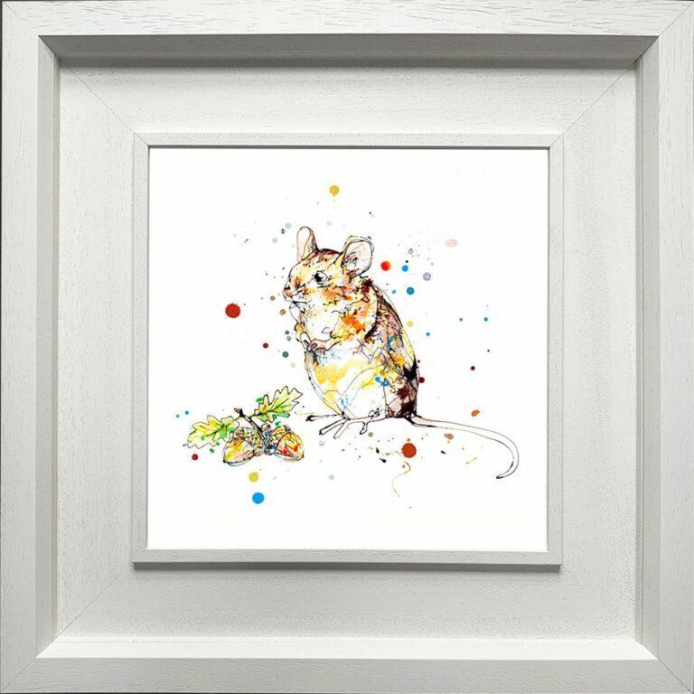 Little Guy Mouse Paper Giclee Fine Art Print in Deluxe White Frame
