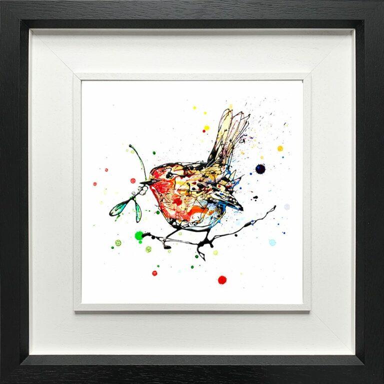 Mistletoe Robin Paper Fine Art Giclee Print shown in Deluxe Black Frame