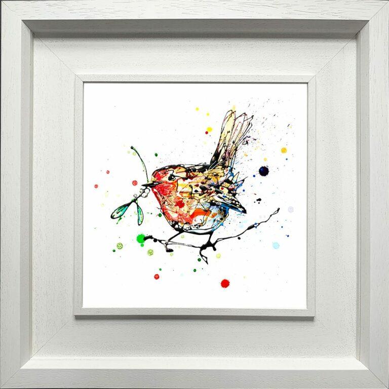 Mistletoe Robin Paper Fine Art Giclee Print shown in Deluxe White Frame