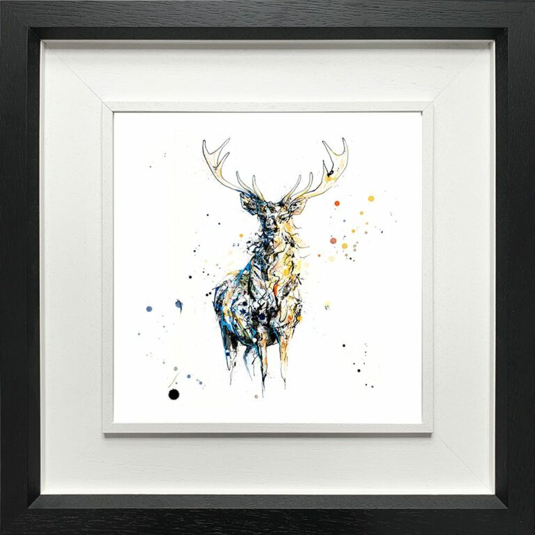 Nightfall Stag Paper Fine Art Giclee Print shown in Deluxe Black Frame