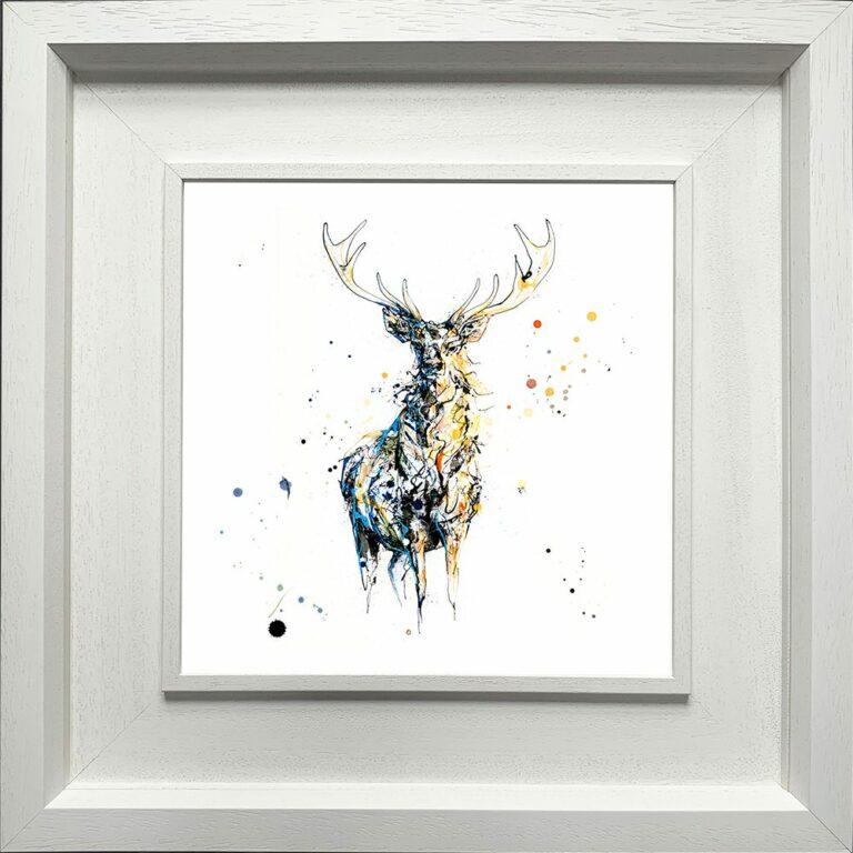 Nightfall Stag Paper Fine Art Giclee Print shown in Deluxe White Frame